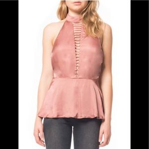 Willow and Clay Halter Satin Tank -S Rose